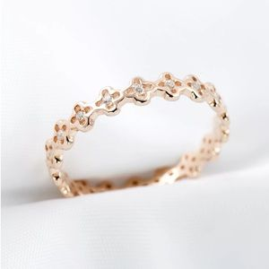 Jewelry - 14K Rose Over Sterling CZ Stackable Ring